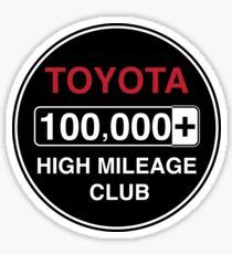 'Toyota High Mileage Club - Miles' Sticker by brainthought Toyota, Cart, How To Remove, Stickers, Retro, Covered Wagon, Retro Illustration, Decals, Strollers