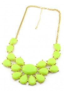 Light Green Bohemia Acrylic Alloy Bib Necklace