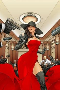 )A recolored cover of Madame Mirage (Her usual colors are just black and white). But, with a slight wardrobe color change, she totally could pull off Carmen Sandiego. Carmen Sandiego, Bd Comics, Comics Girls, Female Character Design, Character Art, Character Concept, Comic Books Art, Comic Art, Chica Fantasy