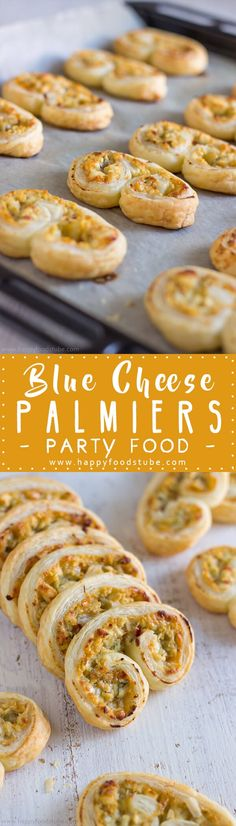 Blue Cheese Palmiers Recipe - This quick finger food recipe takes less than 30 minutes & will surprise you with its savory & sweet filling via @happyfoodstube