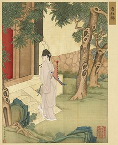 Lady Hongfu (紅拂), a fictional heroine from the founding days of the Tang dynasty by Qing dynasty painter He Dazi, 18th century