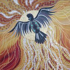 Cockatoo in the Fiery Sun Aboriginal Art Australian, Aboriginal Art Animals, Aboriginal Dot Painting, Aboriginal Artists, Australian Art, Crow Art, Bird Art, Native Art, Native American Art