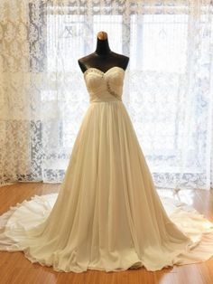 affordable ivory sweetheart long chiffon beach wedding dress with crystals | Cheap beach wedding dresses Sale