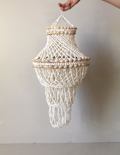 Vintage Handmade Shell Chandelier by WildPoppyGoods on Etsy
