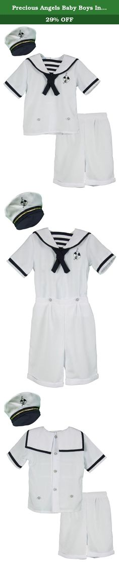 Precious Angels Baby Boys Infant White Nautical Bodysuit and Sailor Hat Set - 24 Months. This adorable infants, baby and toddler boys 2 piece set from Precious Angels features a short sleeves white top with a sailor collar and square back flap, a navy trim on sleeves and collar, a navy grosgrain bow and back button down closure. Pull on button up elastic waist solid white shirt. Comes with matching sailor hat with navy trim. Available in sizes 6 to 24 months and 2T to 4T. Product care:...