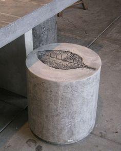 Concrete Stool With Leaf Motif