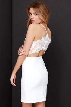 white dress with lace back