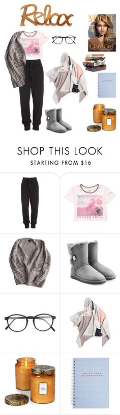 """Lazy/ stay in bed day"" by haley-oolun ❤ liked on Polyvore featuring Donna Karan, Billabong, Topshop, UGG Australia, RetroSuperFuture and Voluspa"