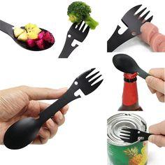 Camping Equipment Cookware Spoon Fork Bottle Opener Portable Practical UK