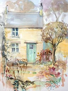 Original Water Colour and ink Painting 'Winter Cottage'. Signed.