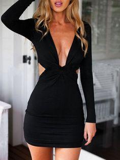 Shop Deep Plunge Neck Knotted Open Back Black Dress online. SheIn offers Deep Plunge Neck Knotted Open Back Black Dress & more to fit your fashionable needs.