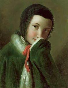 Portrait d'une jeune fille dans une écharpe noire et un manteau vert avec fourrure blanche milieu du XVIII Norton Simon Museum, Pasadena, Californie, USA