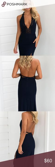 🌹// CAMEO Halter Maxi Dress // Navy DETAILSNavy toneTie up halter neck styleLace detailingExposed backStraps at backMaxi length with side splitZipper closure MODEL INFORMATION Model:Madi wears XS Mauri's at Winter Park Dresses Maxi