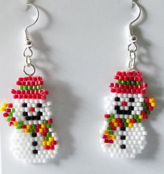 Christmas Miyuki Seed Bead Snowman Drop Earrings | Etsy Seed Bead Patterns, Beaded Jewelry Patterns, Weaving Patterns, Bead Jewelry, Art Patterns, Mosaic Patterns, Embroidery Patterns, Loom Bands, Beaded Crafts