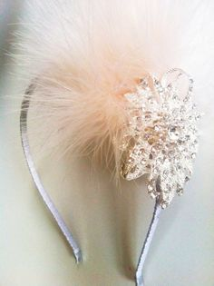 for flower girls- Great Gatsby Crystal Flower and Marabou Feather Headband-Winter Wedding- Vintage Bridal Headpiece The Great Gatsby, Great Gatsby Wedding, 1920s Wedding, Wedding Hair, Wedding Dress, Crystal Headband, Feather Headband, Vintage Bridal, Vintage Glamour