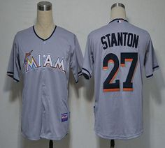 marlins #27 Giancarlo Stanton Grey 2012 Road Embroidered MLB Jersey! Only $18.50USD