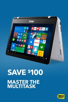"Save $100 on the Asus Q304 13.3"" 2-in-1 Laptop with Intel Core i5 Processor. Whether you're cramming for midterms or rocking budget spreadsheets, this Intelpowered laptop has you covered. Time for a break from all that responsibility? Flip, fold and unwind to tablet or tent mode with your favorite videos, movies and more. It's an all-in-one must-have. Offer valid through 10/7/17."