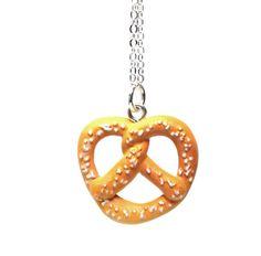 Miniature Pretzel Necklace - Kawaii cute twisted pretzel pendant charm - food jewelry. $10.00, via Etsy.