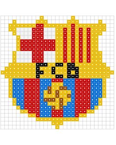 Pyssla (hama beads), Real Madrid CF y FC Barcelona Hama Beads Design, Hama Beads Patterns, Beading Patterns, Hama Beads Minecraft, Pearler Beads, Fuse Beads, Fc Barcelona, Pixel Art, Hama Mini