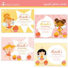 These fairies will add a little extra sprinkles to your cupcakes! Invites match with coordinating clipart set found HERE.