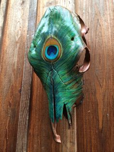 Peacock Feather Cow Skull by KamikazeCowgirl on Etsy, $310.00