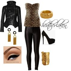"""""""Leopard & Leather Gold"""" by heather-laken-michael on Polyvore"""