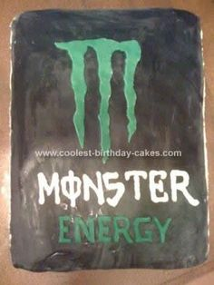 Homemade Monster Energy Drink Birthday Cake