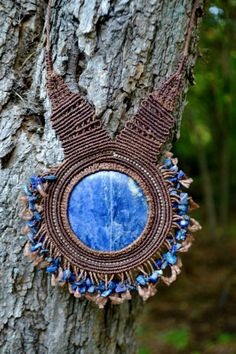 Macrame Necklace with Sodalite and Lapis Lazuli Stones by Coco Paniora Salinas of Rumi Sumaq
