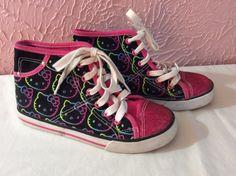 Sanrio Hello Kitty Girls Sneakers Hi Tops Size 2 Glitter Toe Neon Kitties #Sanrio #Athletic #Everyday