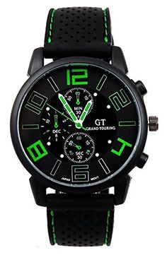 shot-in Luxury Mens Championship Fashion Silicone GT Sport Wtach (Green)   Full Description customized: Yes Sport Type: Cycling Dial Window Material Type: Glass Case Material: Alloy Dial Mate