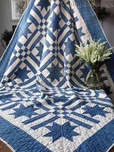 Antique c1880s Indigo Blue Stars & Stripes QUILT Primitive Country Home
