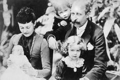 Prince Arthur, Duke of Connaught, Victoria's favorite son, with his wife, Princess Louise and children (left to right) Princess Patricia, Prince Arthur, and Princess Margaret, later Crown Princess of Sweden.