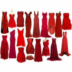 Loving these dress styles and of course the different shades of red