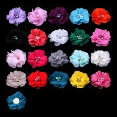 """50pcs/lot 2"""" 20 Colors Mini Chiffon Flowers With Rhinestones For Kids Hair Accessories Artificial Fabric Flowers For Headbands #Affiliate"""