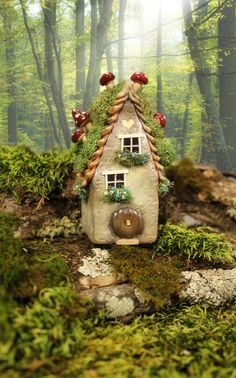 Grey Hobbit Fairy Willow Spirit House, 3 3/4 inches tall fairy moss and mushroom house miniature / sculpted for mini fairy village or set