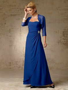 A-line Strapless Floor-length Chiffon Mother of Bride Dress