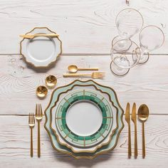 Anna Weatherley Chargers in Aqua Sky/Gold + Anna Weatherley Dinnerware in White/Gold + NEW Emerald Deco Dinnerware + Rondo Flatware in Brushed 24k Gold + Chloe 24k Gold Rimmed Stemware + 14k Gold Salt Cellars + Tiny Gold Spoons #cdpdesignpresentation #shopcdp #