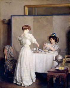 "William Mc Gregor Paxton ""Tea Leaves"" 1909. Metropolitan Muséum of Art New-York"