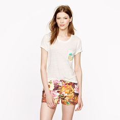 Linen pineapple-pocket tee