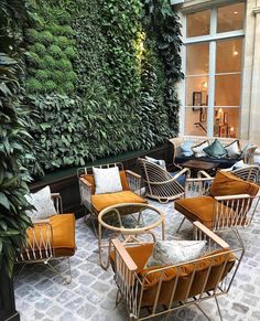 Tropical Home Upgrade – Indoor Vertical Garden and Living Wall - Andaziyar Cafe Seating, Outdoor Seating, Outdoor Spaces, Outdoor Living, Outdoor Decor, Outdoor Office, Exterior Design, Interior And Exterior, Modern Interior