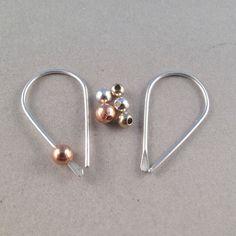 STERLING SILVER HOOP sleeper wire earrings by CecileStewartJewelry, $16.95