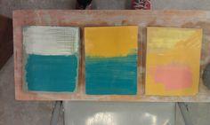 Ceramic wall plates. Inspired by rothko. Still wet.
