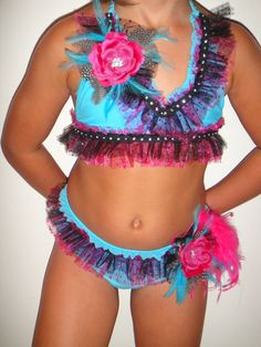 Girls Pageant Bling Queen Swim Suit Pink Peacock Feather Turquoise Glitz 6 | eBay