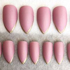 Deep Pink Faux Nails Gold Tips Stiletto Nails Fake Nails Press On... ($11) ❤ liked on Polyvore featuring beauty products, nail care and nail treatments