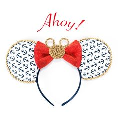 These Ahoy Minnie Mouse ears are inspired by Disney's Cruise lines and Disney's Yacht Club Resort. These ears have an anchor printed cotton fabric on the front and a navy velvet fabric on the back to