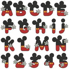 mouse crafts - Mickey Alphabet & Numbers Machine Embroidery Patterns 36 Designs In 2 Sizes & Garden Mickey Mouse Crafts, Mickey Mouse Parties, Fiesta Mickey Mouse, Mickey Par Mickey Mouse Letters, Mickey Mouse Crafts, Fiesta Mickey Mouse, Theme Mickey, Mickey Mouse Parties, Mickey Party, Mickey Mouse Birthday, Disney Crafts, Mickey Minnie Mouse