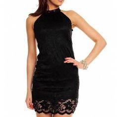 Halter jurk zwart kant ook in het wit €40,95 incl gratis verzenden  Halterjurk in de kleur zwart gemaakt van kant. De jurk sluit zich in de nek met een striksluiting. Gemaakt van 92% polyester en 8% elastine. One size. Merk Looking Maat One Size Kleur Zwart Materiaal Elastine, Polyester Kraagvorm Nee Mouw lengte Geen Pasvorm Strak, Stretch