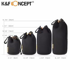 K&F CONCEPT 4pcs Lens Pouch Bag Soft Lens Protector Neoprene Pouches S M L XL Size for Canon for Nikon for Sony Camera Lens  #Affiliate
