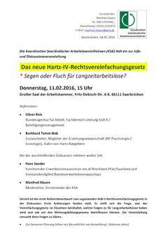 Blog: Bericht HartzIV Saarbruecken Vereinfachungsgesetz Fluch oder Segen?