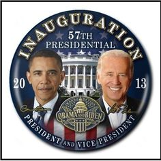 """President Obama and Vice President Biden """"INAUGURATION"""" Button /in  Gift Box"""